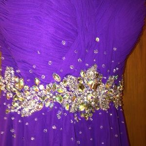 Purple Jeweled Prom Dress Sweetheart Neckline